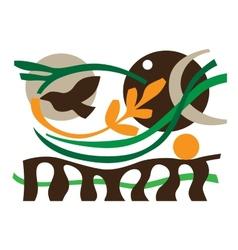 ecology flying bird vector image