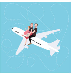 family sitting above on plane concept of traveling vector image