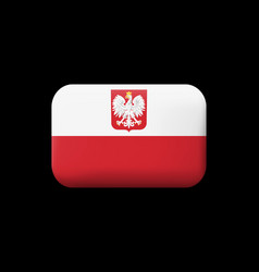 Flag of poland with eagle matted icon and vector