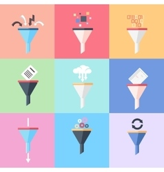 Flat data filter or tunnel icons set vector image