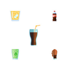 Flat icon beverage set of soda lemonade fizzy vector