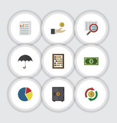 Flat icon incoming set of document counter graph vector