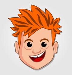 funny cartoon boy face icon vector image