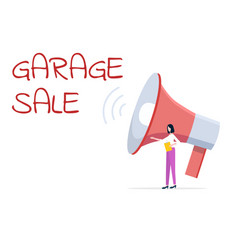 Garage sale woman selling items broadcasting vector
