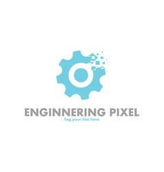 Gear pixel logo vector