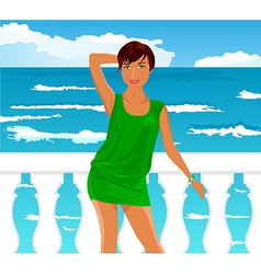 girl on quay at the sea - vector image