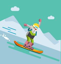 Girl on snowbord riding downhill vector