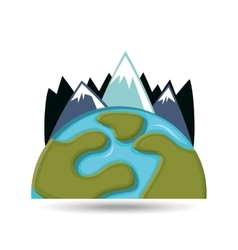 Globe environment mountains care icon graphic vector