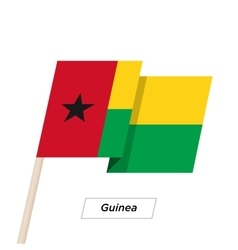 Guinea Ribbon Waving Flag Isolated on White vector image