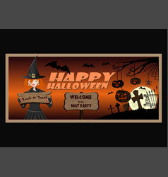 Halloween greeting card wit cute young witch vector