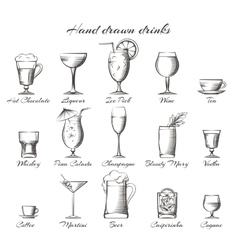 Hand drawn alcoholic and non-alcoholic drinks vector