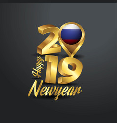 Happy new year 2019 golden typography with russia vector
