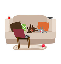 happy pets relaxing on couch and watching tv vector image