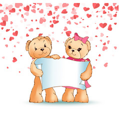 happy teddy bears family holding paper scroll vector image