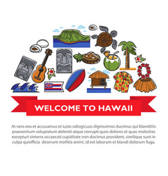 Hawaii travel poster of hawaiian culture famous vector