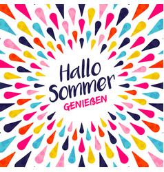 Hello summer german vacation typography vector