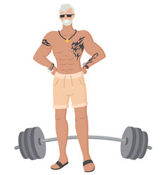 Hipster grandfather in gym old male bodybuilder vector