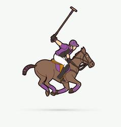 Horses polo sport cartoon graphic vector