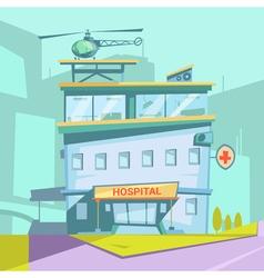 Hospital Building Retro Cartoon vector