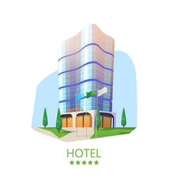 hotel tower or hostel facade modern skyscraper vector image