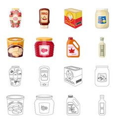 Isolated object of can and food logo set of can vector