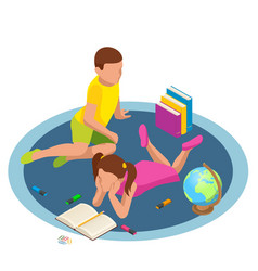 isometric featuring kids reading books concept vector image