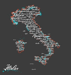 Italy map with city names vector