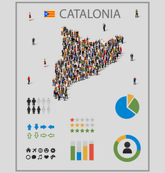 Large group of people in catalonia map with vector