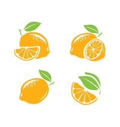 lemon symbol set fresh fruits vector image