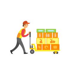 Loader worker in supermarket with boxes vector