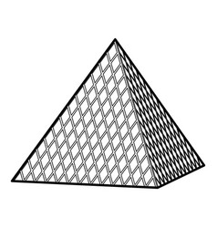 Louvre pyramid icon outline style vector