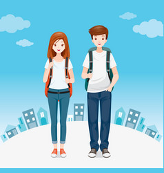 male and female backpackers traveller standing vector image