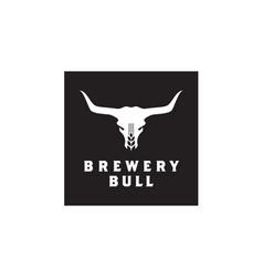 Malt wheat beer bull buffalo longhorn brewery logo vector
