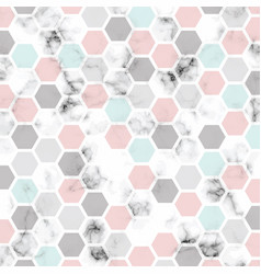 Marble texture design with honeycomb pattern vector