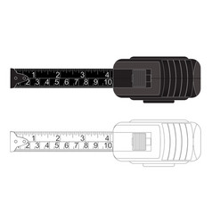 Metal tape measure black and white outline vector