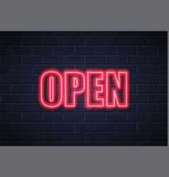 neon open sign brick wall vector image