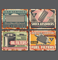 Oil and fuel filters shock absorbers car services vector