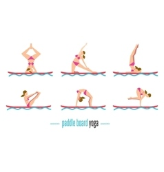 Paddle board yoga set vector