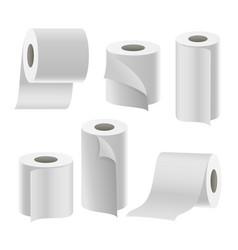 Paper tape roll set bathroom hygiene 3d vector