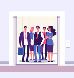 people elevator lift persons standing woman man vector image