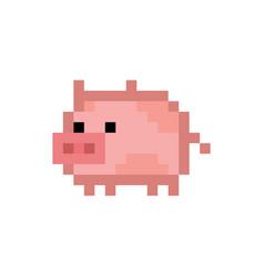 Pixel style cute pink pig vector