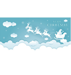 santa claus riding sleigh over cloud background vector image