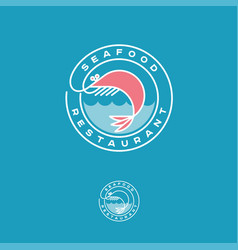 seafood restaurant logo pink shrimp waves vector image