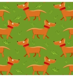 Seamless pattern with repeating dog on green grass vector image