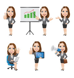 set business woman character in 6 different poses vector image