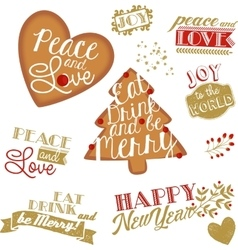 Set christmas and ny stickers and logotypes vector