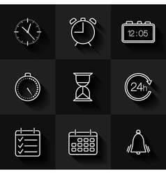 Set of contour date time and calendar icons vector image