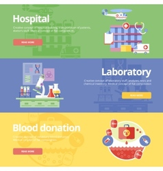 Set of flat design concepts for hospital vector