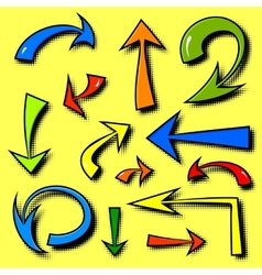 set of hand drawn comics arrows vector image