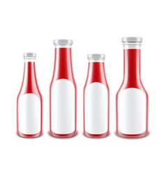 set of red ketchup bottles with white labels vector image